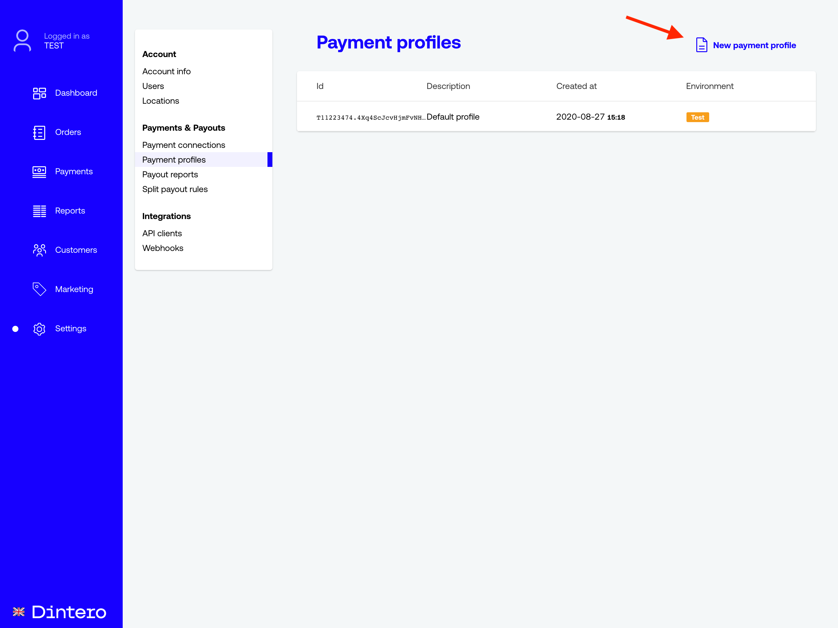 new payment profile
